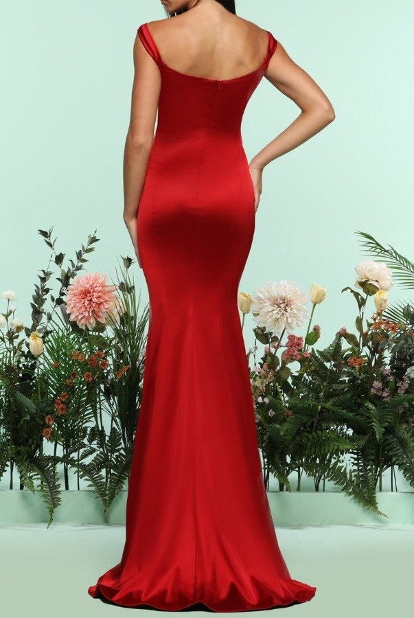 Zoey Grey Red Off Shoulder Silky Long Mermaid Evening Gown