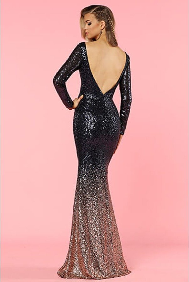 e5efaaf84982 ... Lending Luxury Couture Long Sleeve Sequin Beaded Navy Gold Ombre Gown  ...