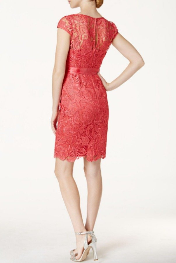 Adrianna Papell Cap Sleeve Illusion Lace Dress French Coral
