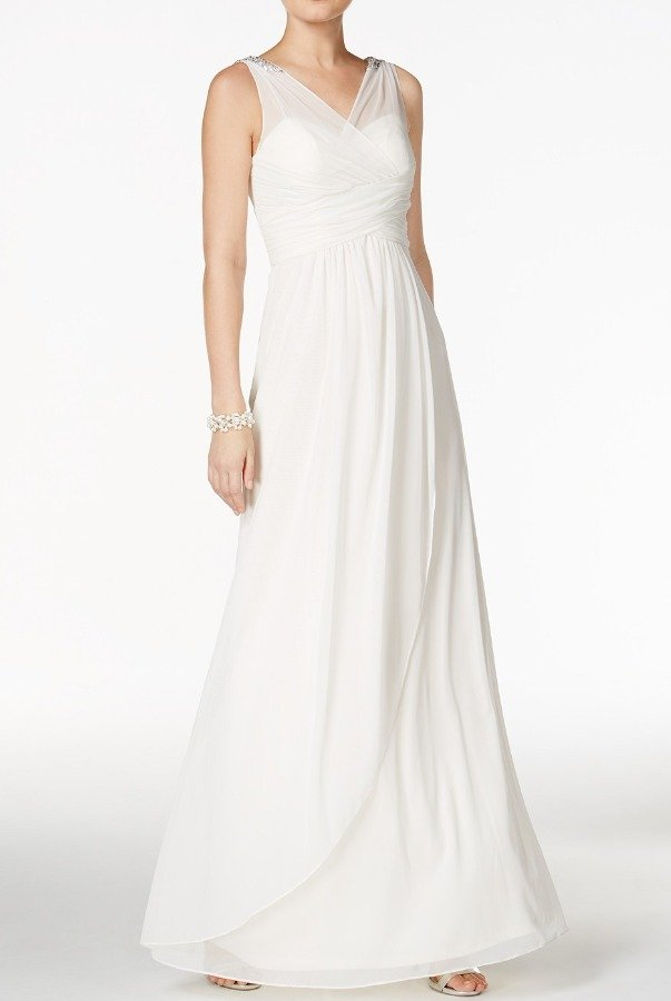 Adrianna Papell Ruched Embellished Gown