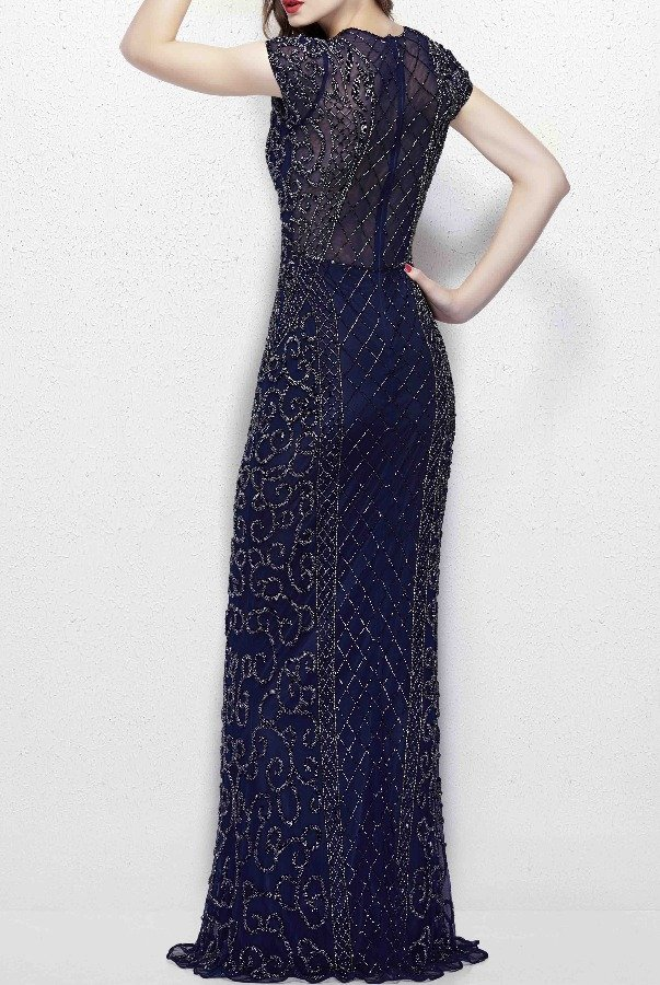 Primavera Couture 1976 Navy Midnight Beaded Illusion Evening Gown