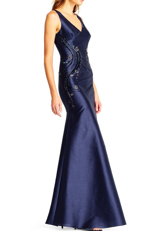 Adrianna Papell Faille Trumpet Dress with Beaded Side Accents