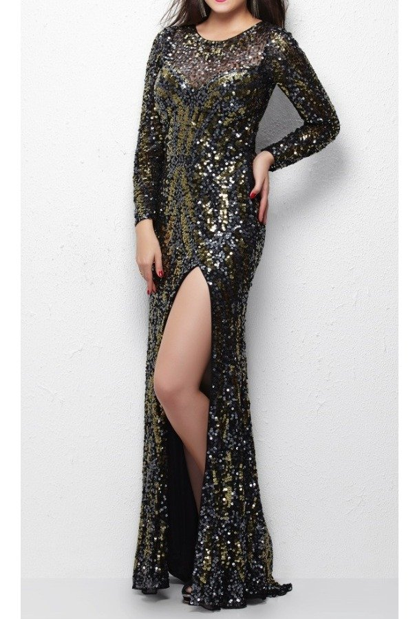 Primavera Couture 9925 Long Sleeve Sequin Gown with Front Slit