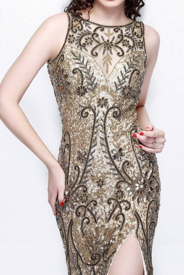 Primavera Couture 1808 Gold Beaded Sequin Prom Gown Dress Open Back