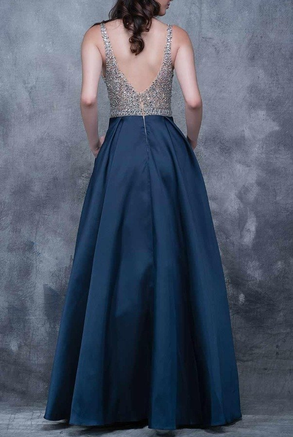 Nina Canacci Upscale Crystal Beaded Navy Blue Ball Gown