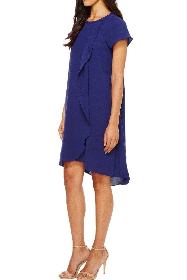 Adrianna Papell Blue Drape Shift Dress with Short Sleeves