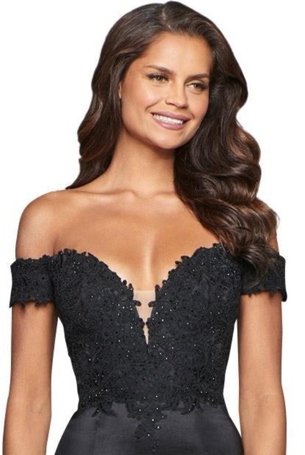 Faviana Black Glossy Off-Shoulder Mermaid Lace Gown
