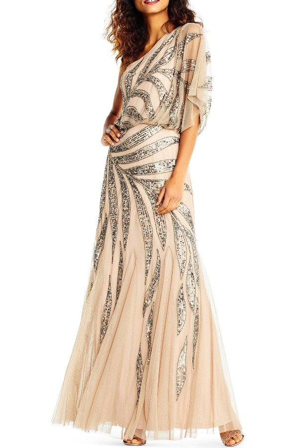 Adrianna Papell One Shoulder Blouson Gown with Vine Beading