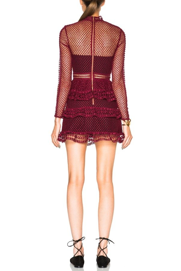 Self Portrait High Neck Paneled Dress in Dark Maroon Burgundy