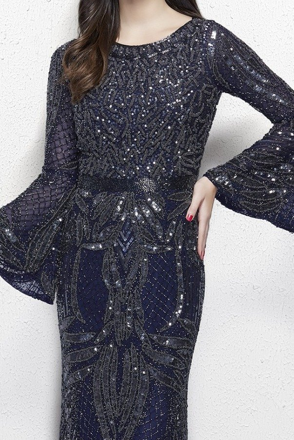 Primavera 1964 Open Back Bell Sleeve Gown in Midnight Navy