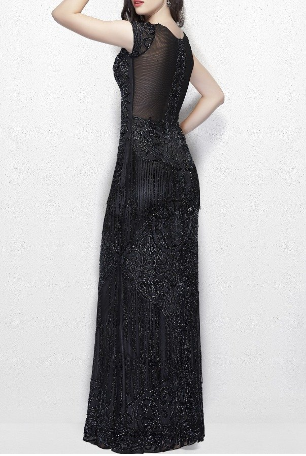 Primavera Couture Primavera 1973 Black evening Gown with Fringe Prom