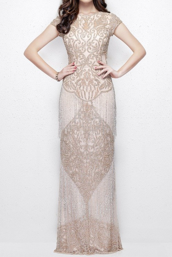 Primavera Couture 1973 Blush Silver Cap Sleeve Gown with Fringe Prom