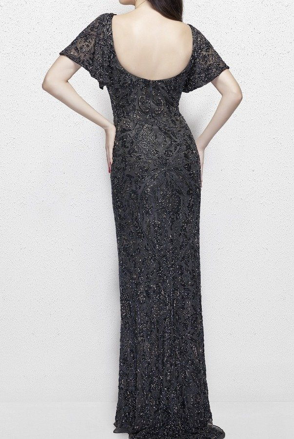 Primavera Couture 1991 Short Sleeve Beaded Gown in Charcoal