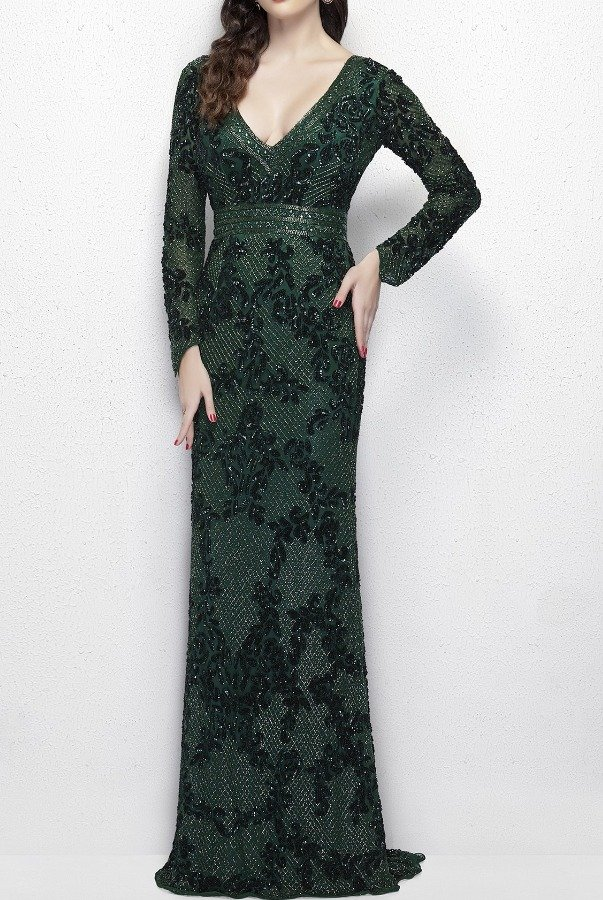 Primavera Couture 1990 Emerald Elegant Long Sleeve Evening Ball Gown