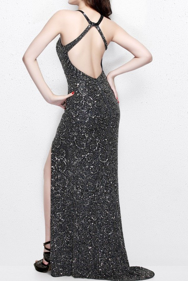 Primavera Couture 1841 Beaded Metallic Open Back Long Gown Prom 2018