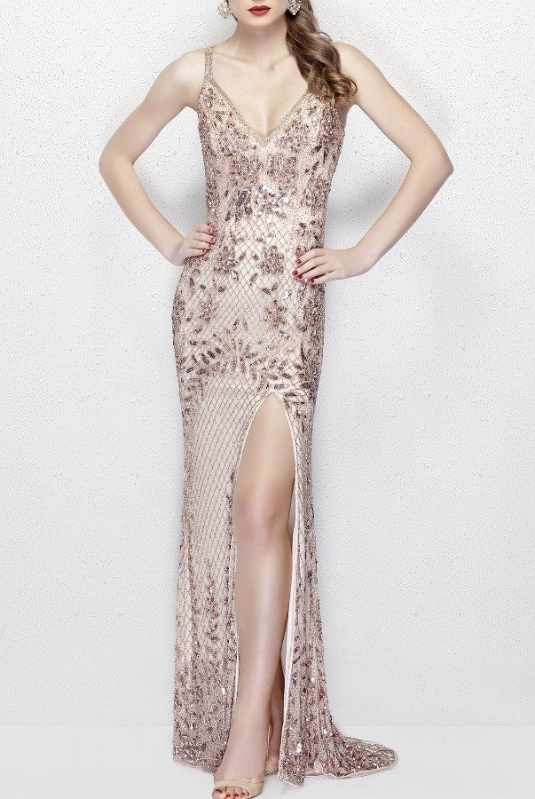 Primavera 1844 Blush Beaded V Neck Open Back Gown Prom Dress | Poshare