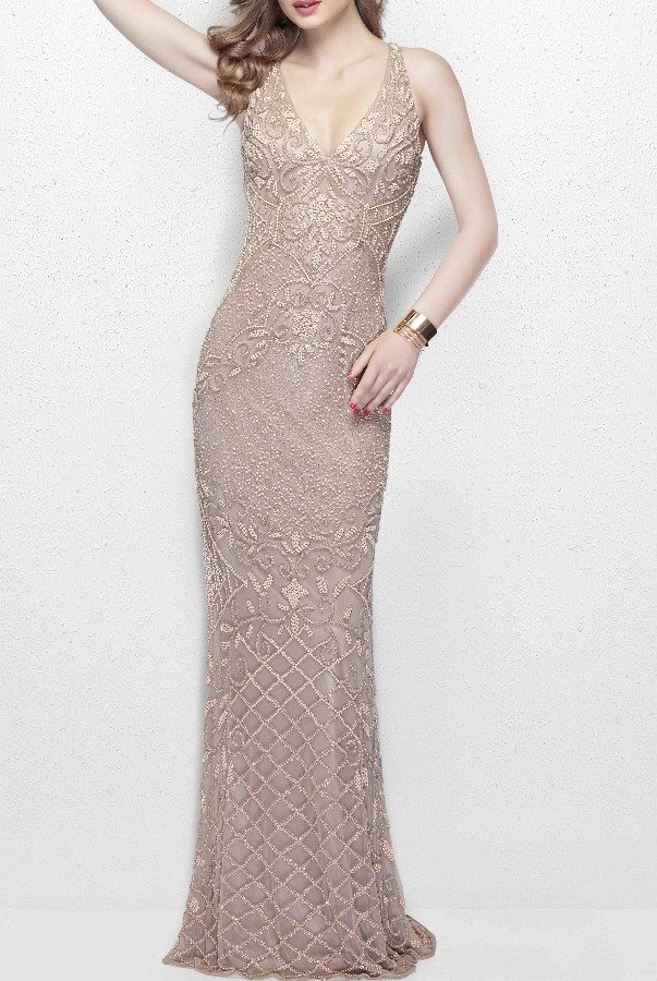 Primavera Couture 3029 Nude V Neck Beaded Dress with Open Back Prom