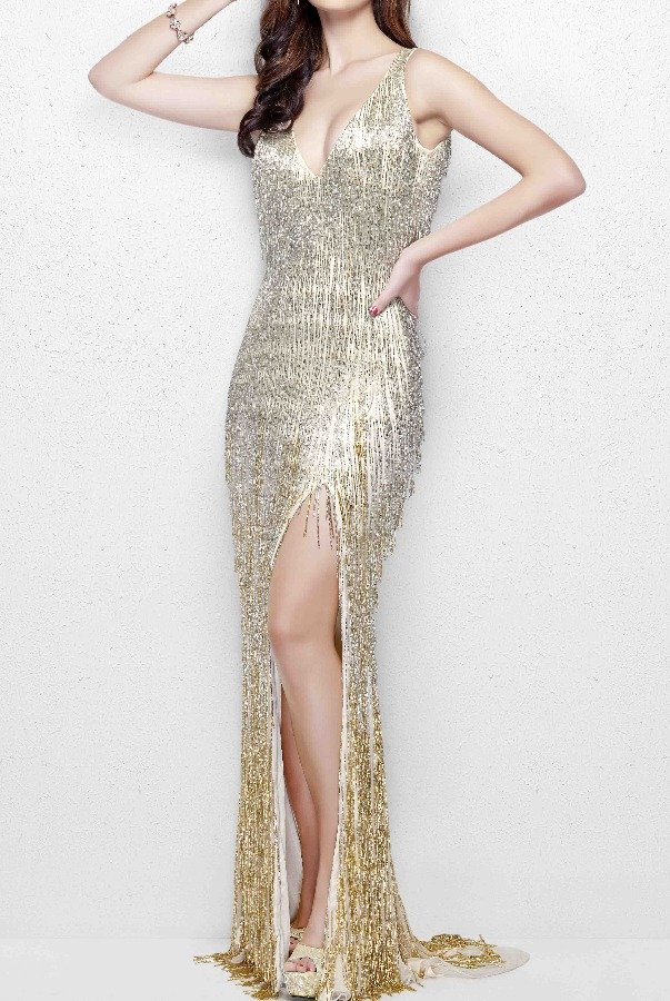 6088cb2d66a0 Primavera 3031 Glamorous Beaded Fringe Gown in Nude Gold | Poshare
