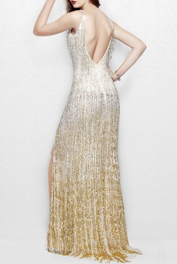 Primavera 3031 Glamorous Beaded Fringe Gown in Nude Gold