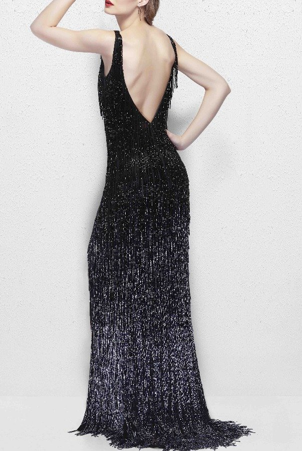 Primavera Couture 3031 Glamorous Beaded Fringe Gown in Black Prom