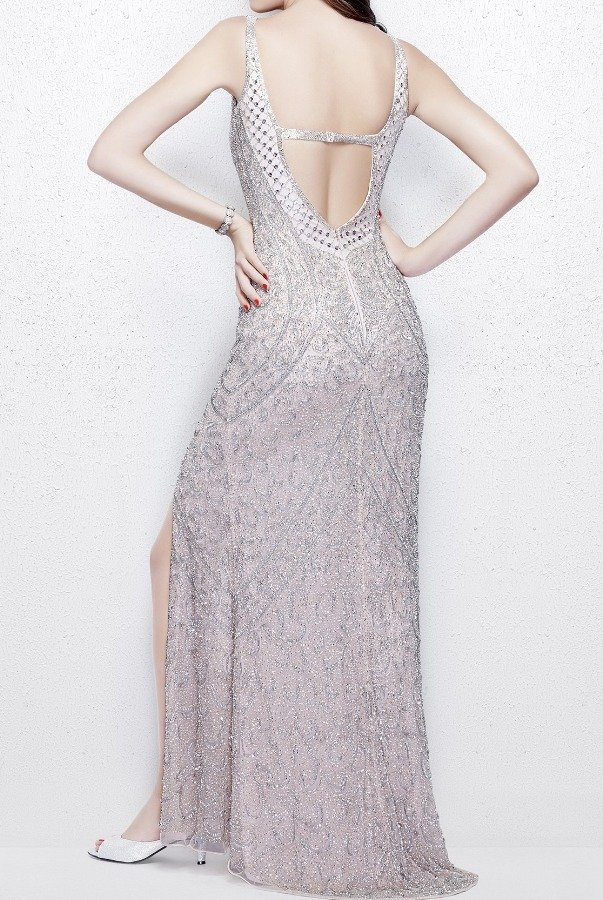 Primavera Couture 3040 Beaded Gown with Open Back in Blush Nude Prom