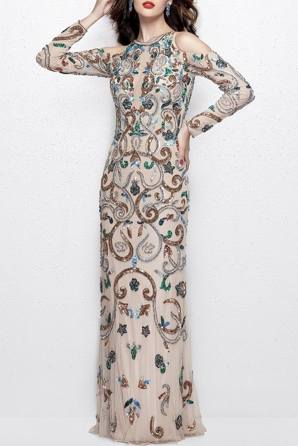 Primavera Couture 3044 Long Sleeve Cold Shoulder Beaded Blush Gown