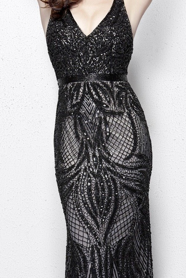 Primavera Couture 3061 Sequin Embroidered Midnight Evening Gown