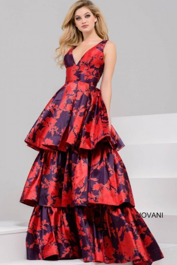 Jovani 45167 Tiered Prom 2018 Dress Print Gown Poshare