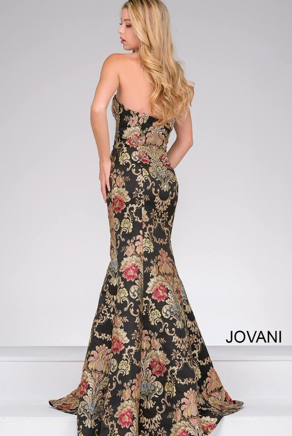 Jovani 48395 Strapless Jacquard Prom Dress Evening Gown