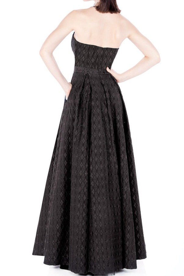 Mon Cheri Black A-Line Long Strapless Formal Dress MCE21619