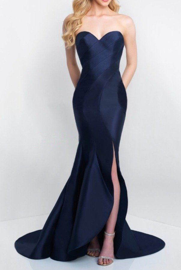 Blush Navy Blue Strapless Evening Gown C1063 Prom Dress