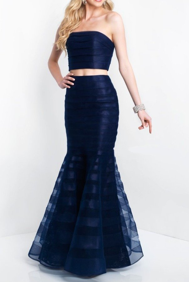 Blush Prom Two Piece Mermaid Gown Navy Blue Dress 11507