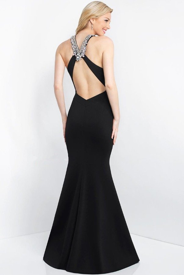 Blush Prom Embellished Neckline Black Mermaid Gown Open Back
