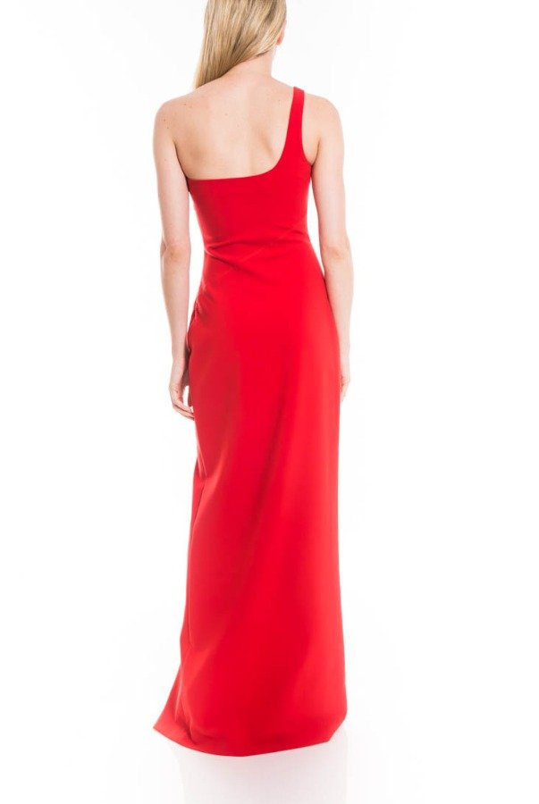 Likely Camden One Shoulder Red Gown