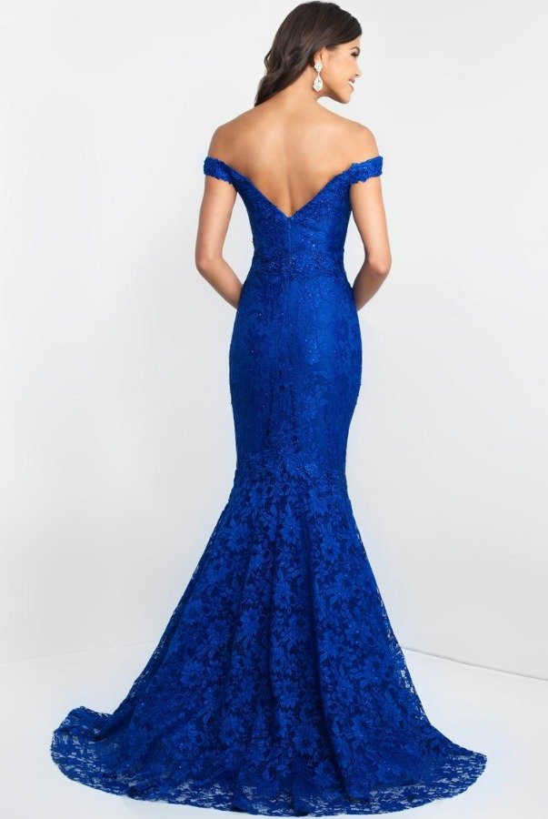 Blush Off-Shoulder Mermaid Gown  In Royal Blue