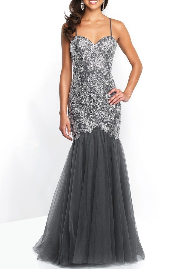 Blush Prom 11582 Silver Beaded Mermaid Gown  Prom Dress