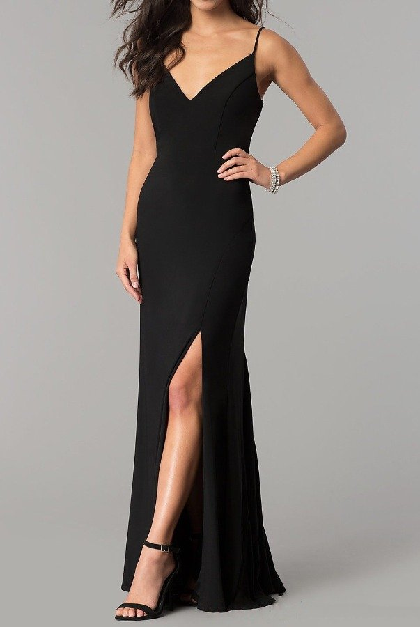 Jump V-Neck Black Evening Gown with Slit Prom Dress | Poshare