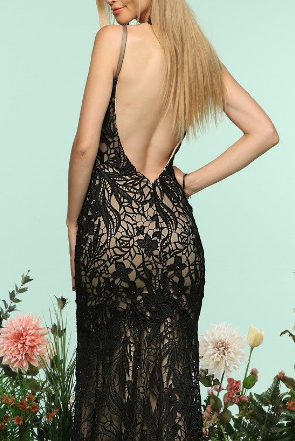 Zoey Grey Black Lace Open Back Trumpet Gown Prom Dress 31142