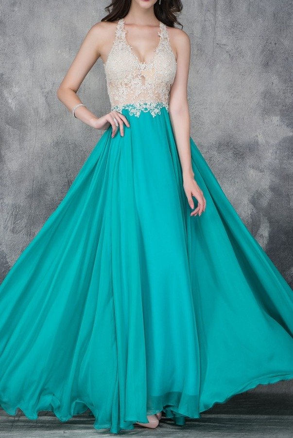 Nina Canacci A Line Applique Teal Chiffon Ball Gown 2129