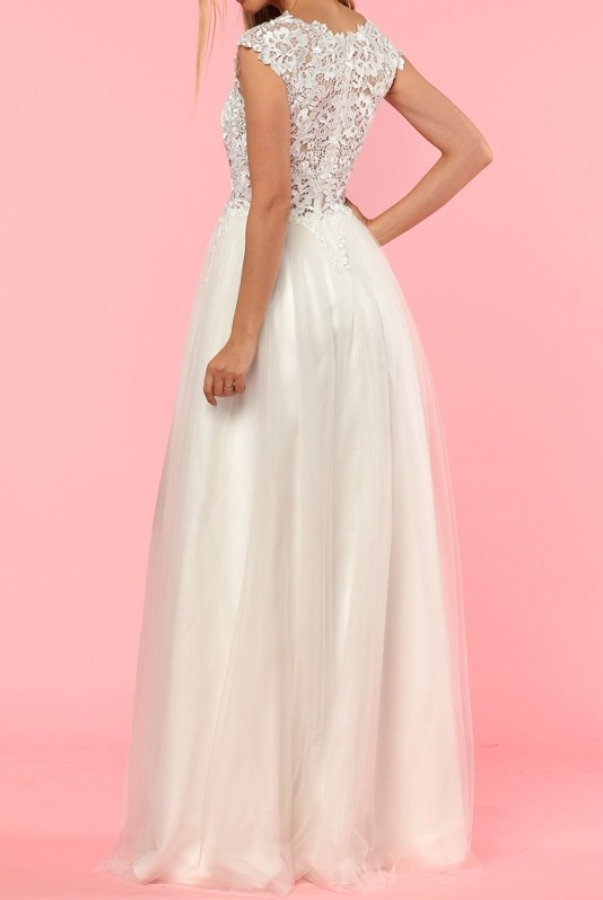 Lending Luxury Couture Ivory Lace Tulle Gown Bridal Prom Dress 32755