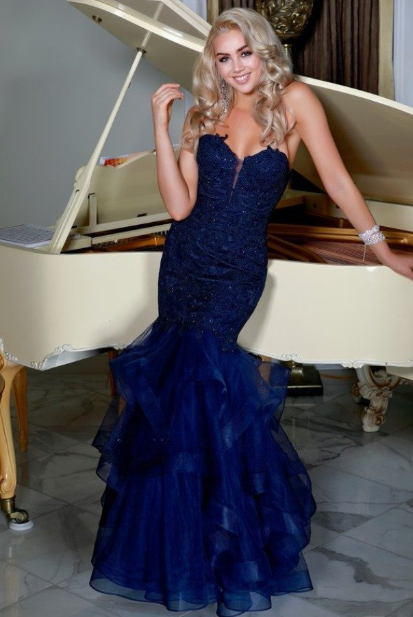 Nox Anabel Navy Beaded Lace Long Strapless Mermaid Dress Gown