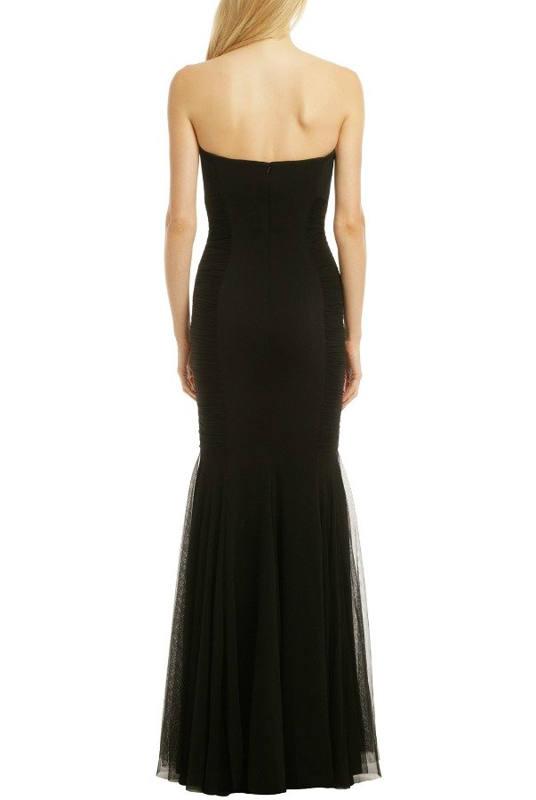 Badgley Mischka Black Strapless Curves for Days Gown