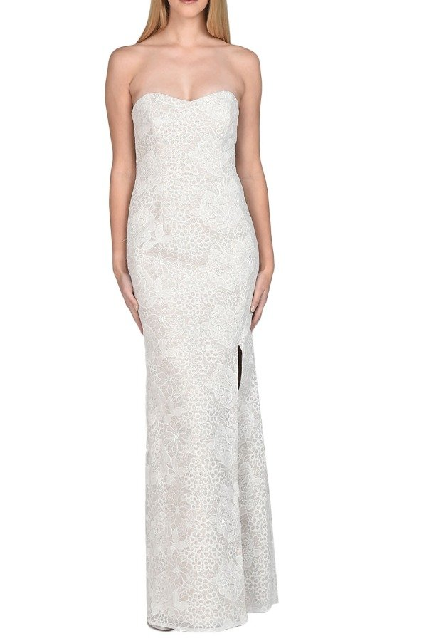Strapless Lace Sequined Evening Gown