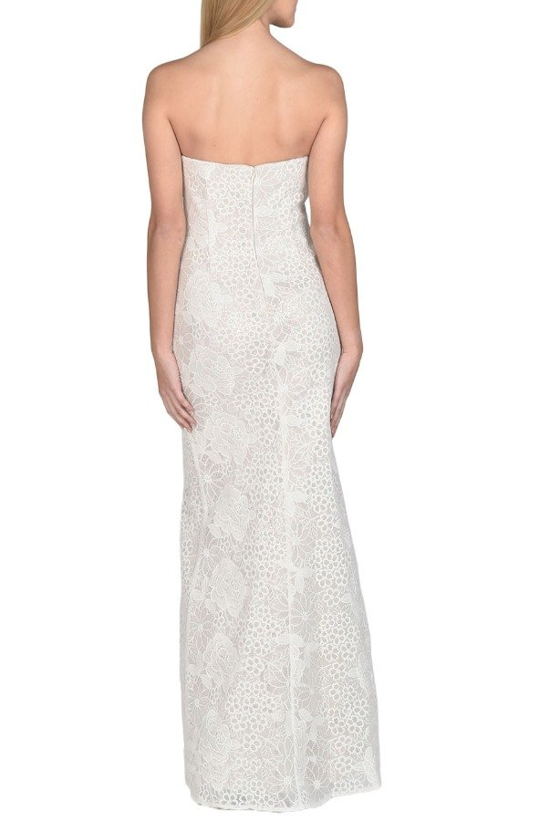 Badgley Mischka Strapless Lace Sequined Evening Gown