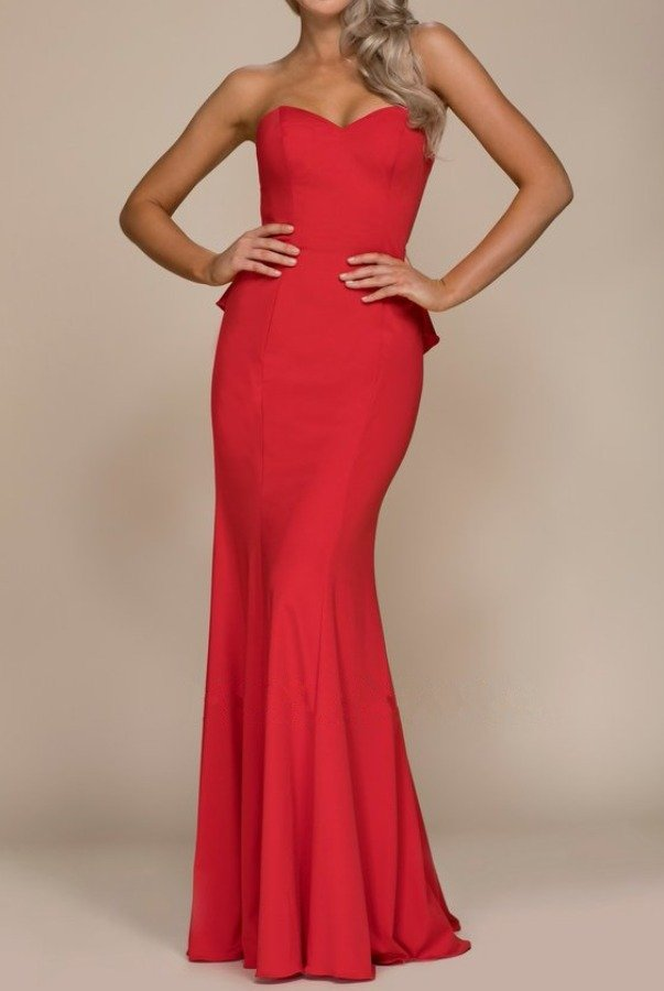 Nox Anabel Red Strapless Mermaid Gown Open Back with Ruffles