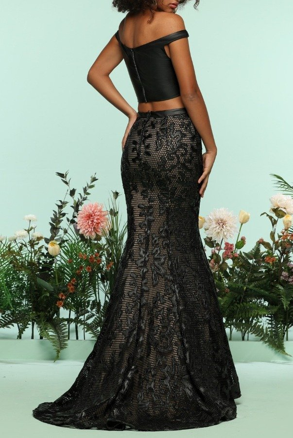 Zoey Grey Black Nude Lace Two Piece Gown Evening Dress Prom
