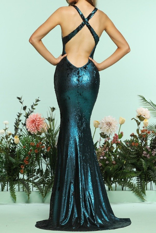 Zoey Grey Teal Sequin Deep V Mermaid Gown Evening Dress