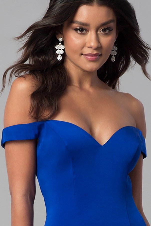 Lending Luxury Couture Cobalt Blue Of shoulder Mermaid Gown Evening Dress
