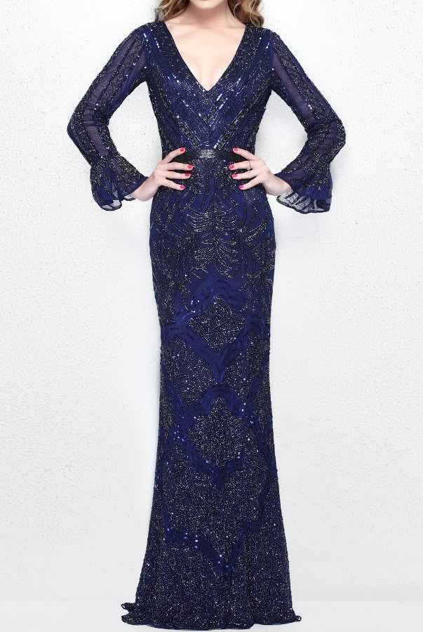 Primavera Couture 1724 Navy Blue Long Sleeve Beaded Gown Dress