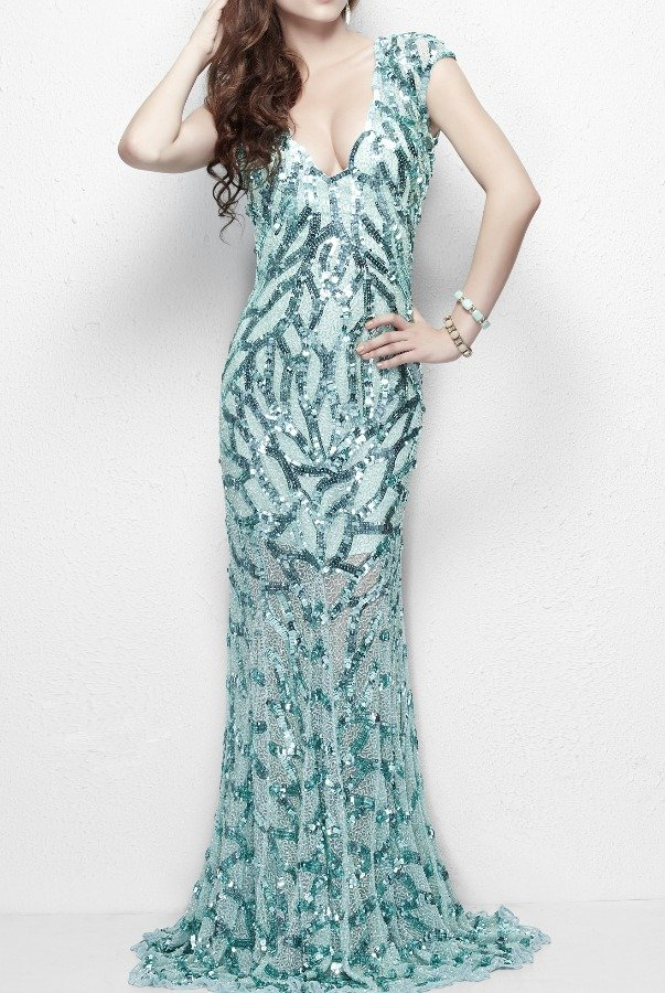 Primavera Couture Sequin Embellished Sparkly Gown 9927 Dress in Aqua